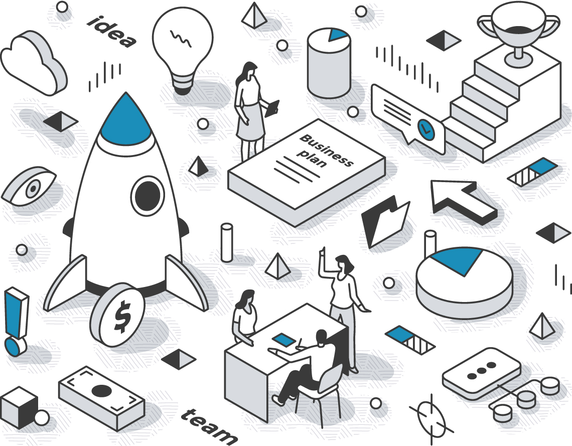Clean and modern blue, black, white, and gray graphic illustration of small people interacting with large icons and terms relating to business, productivity, innovation, and success, including a trophy, business plan, rocket ship, coin, folder, flowchart, and team meeting.